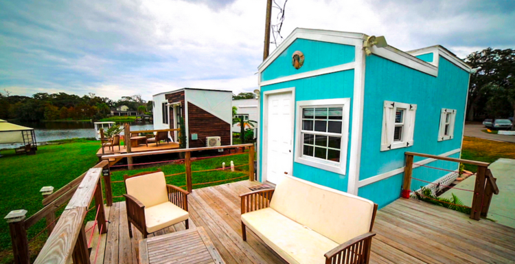 tiny house outdoor living space at Orlando Lakefront community - click for more!