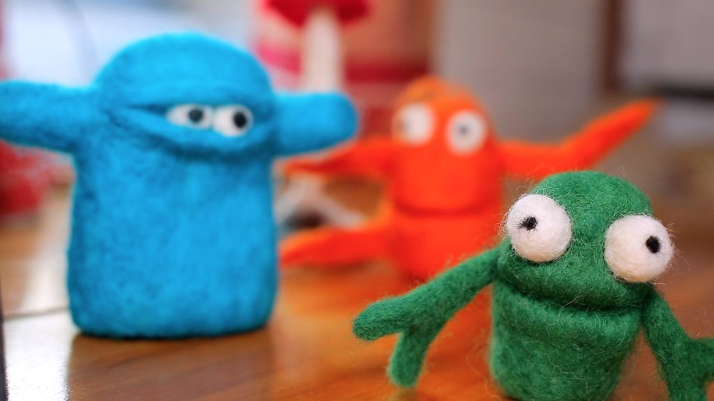 needle felted monsters