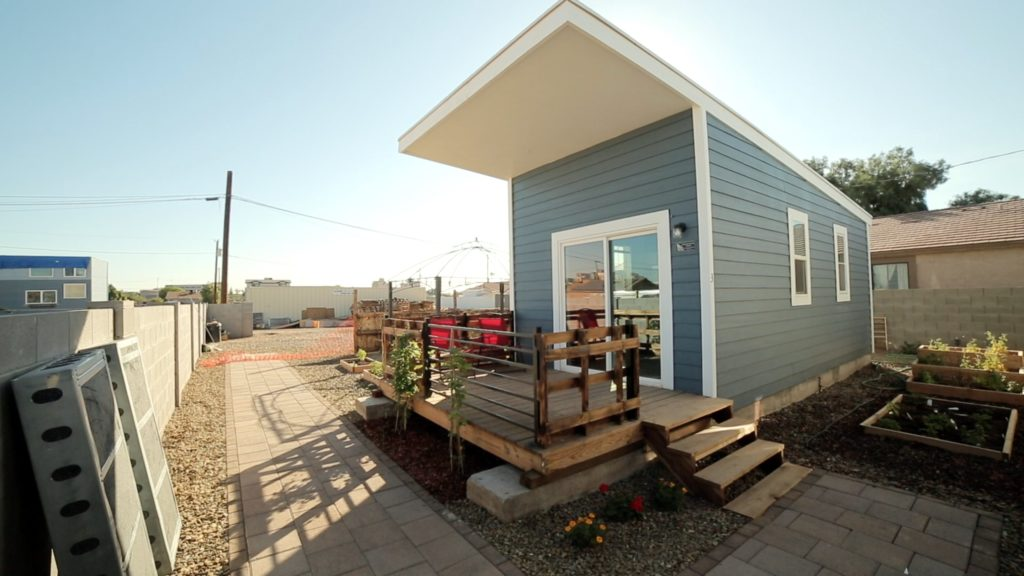 V13 Tiny Home Community built using energy efficient structurally insulated paneling system