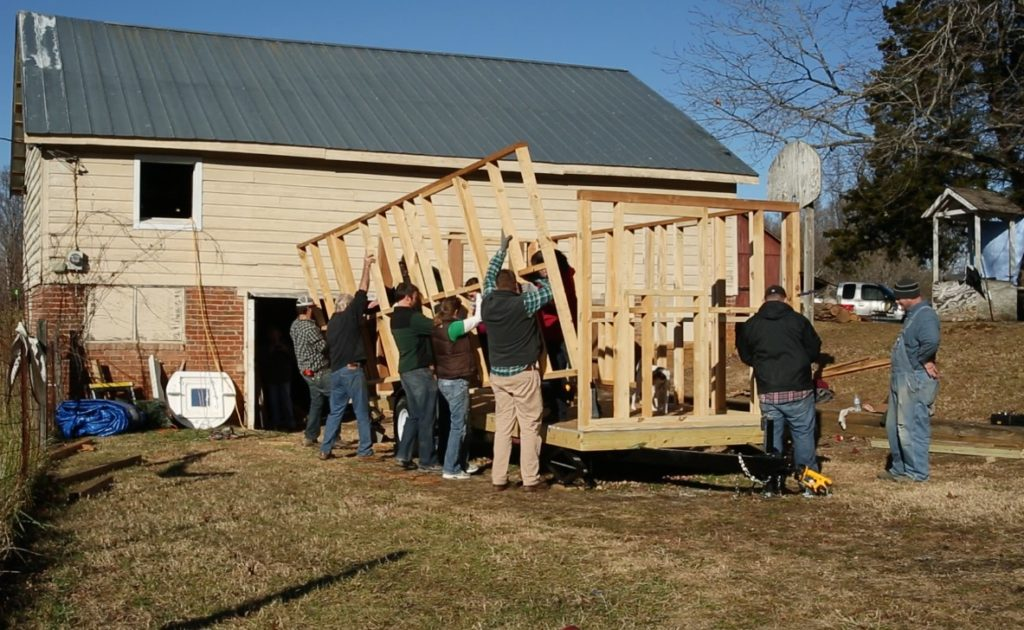 helping hands during our tiny house build