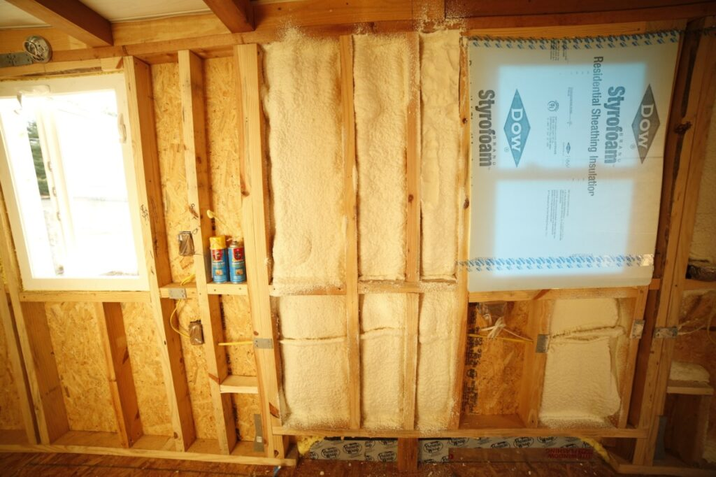closed cell spray foam insulation in tiny house