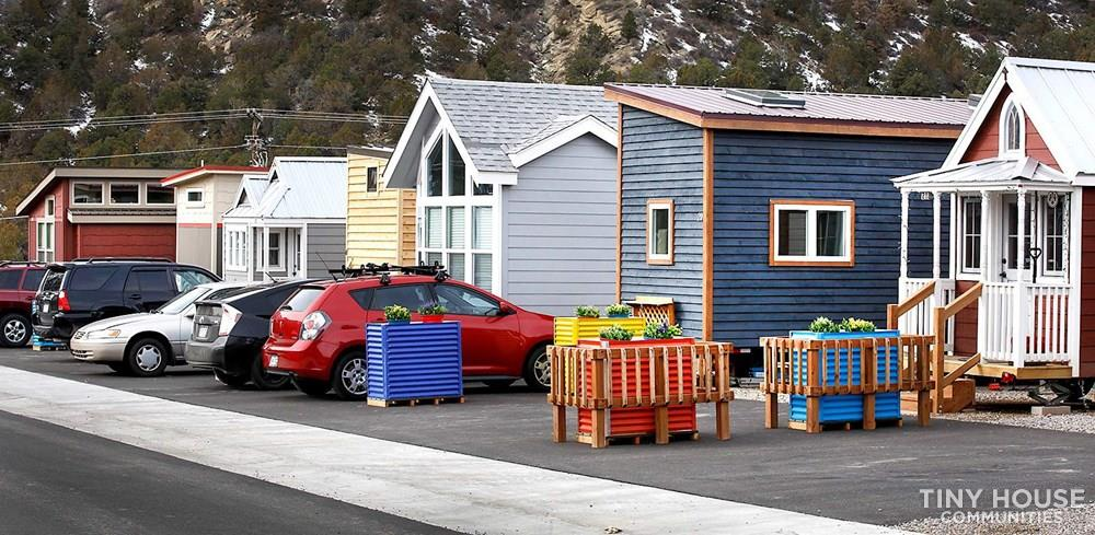 Escalante Village uses container gardens on wheels that can be easily moved to accommodate tiny houses, as move-in or leave.