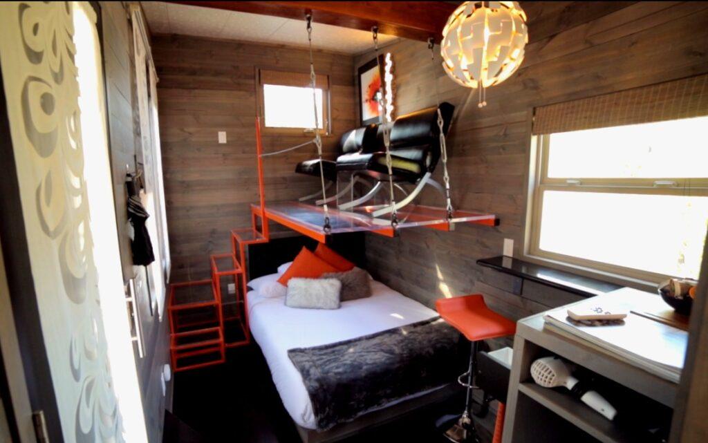 modern themed tiny house_raised living area